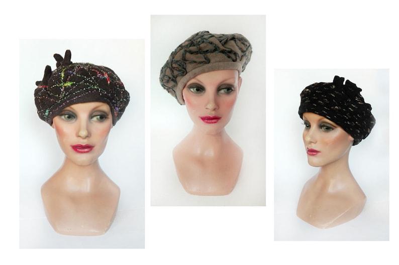 Women's cashmere beret retro black winter hat wool image 0