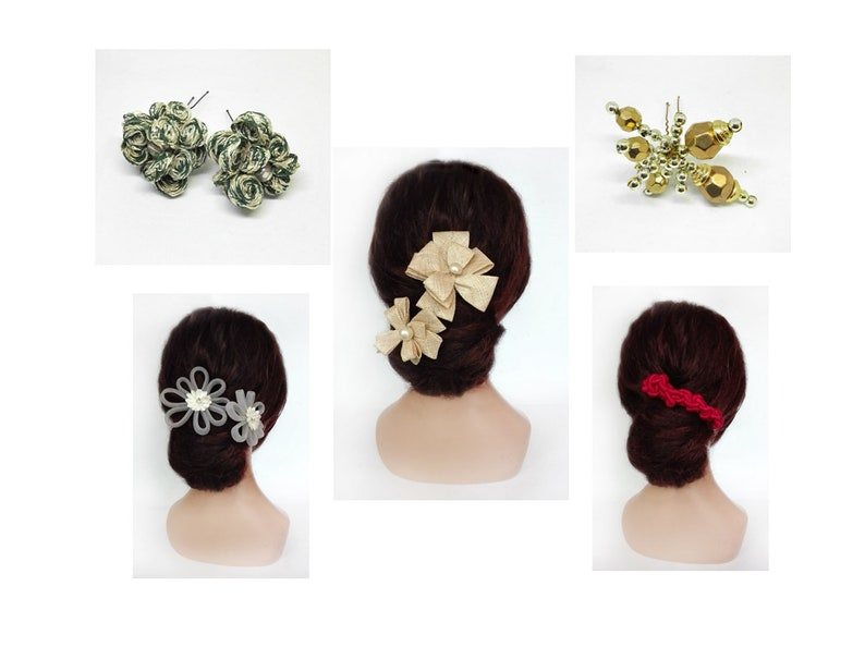 Hair pin flower wedding kanzashi bride hair pin cocktail image 0