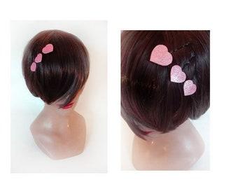 hair comb pink heart hairclip, Bridal hair clip, barrette wedding ceremonial Hat