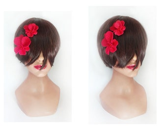 Clip fascinator red heart Flower hat woman, wedding, Bridal, hair clip fascinator ceremony