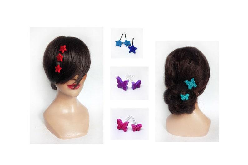 Red star hair pinch butterfly bun pin evening hair image 0