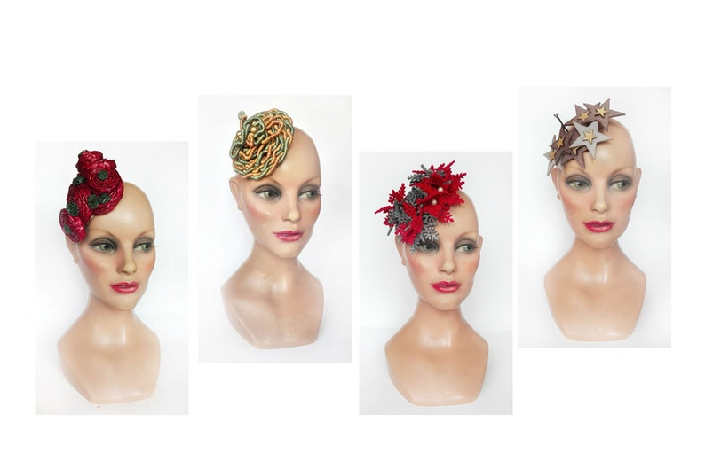 Fascinator with star for boho wedding red engagement bibi image 0