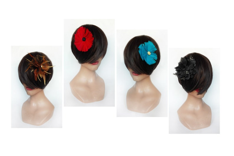 Fascinator flower bar red feather cocktail boho turquoise image 0