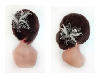 Feather hair clip, fascinator hat, hair pin Bridal, wedding ceremony woman Hat hair stick