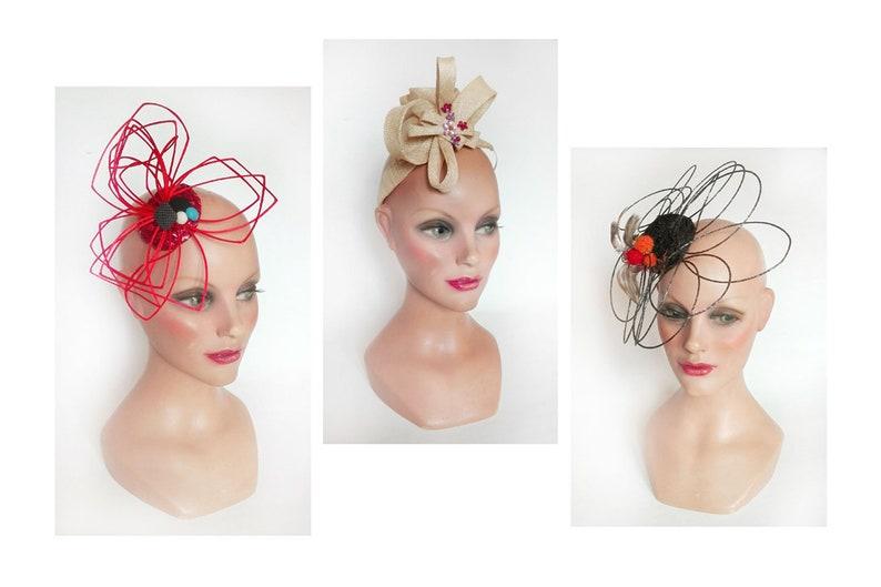 Derby royal Ascot orange headpiece Fascinator wedding woman image 0