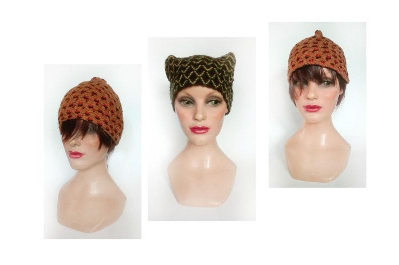 Women's winter hat unique piece retro hat brown woman image 0