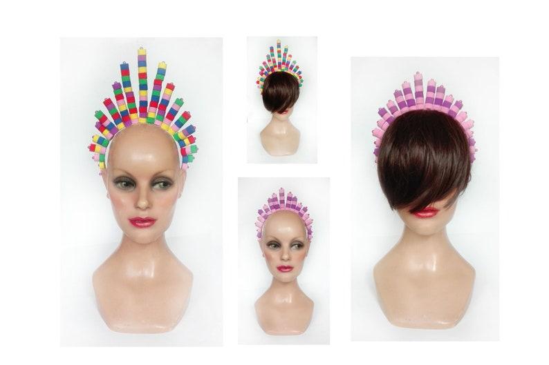 Multicolored wedding tiara fancy engagement headband image 0