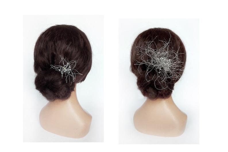 Minimalist metal flower hair pin wedding hair jewelry unique image 0