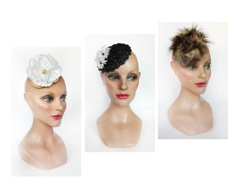 Fascinator hat black straw wedding fur casemate small white image 0