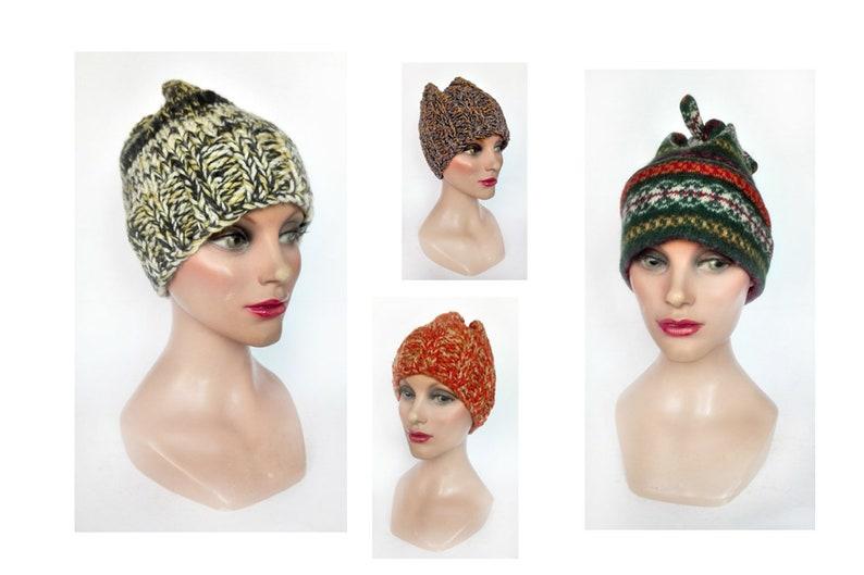 Beanie boho woman Tyrolean green cap ethnic woman hat fancy image 0