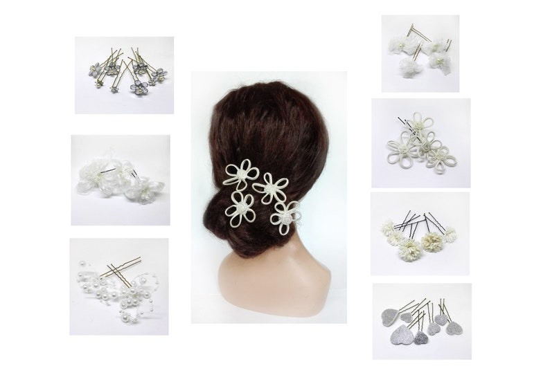 Bride hairpins flower pique fiancée hair wedding hairstyle image 0