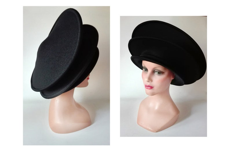 Large black woman hat autumn fascinator unique piece image 0