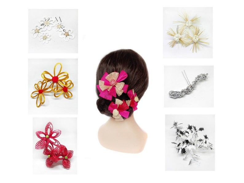 Flamenco hair pin for a bride in boho red wedding image 0