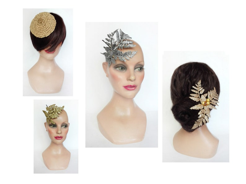 Fascinator Christmas engagement hair jewelry straw wedding image 0
