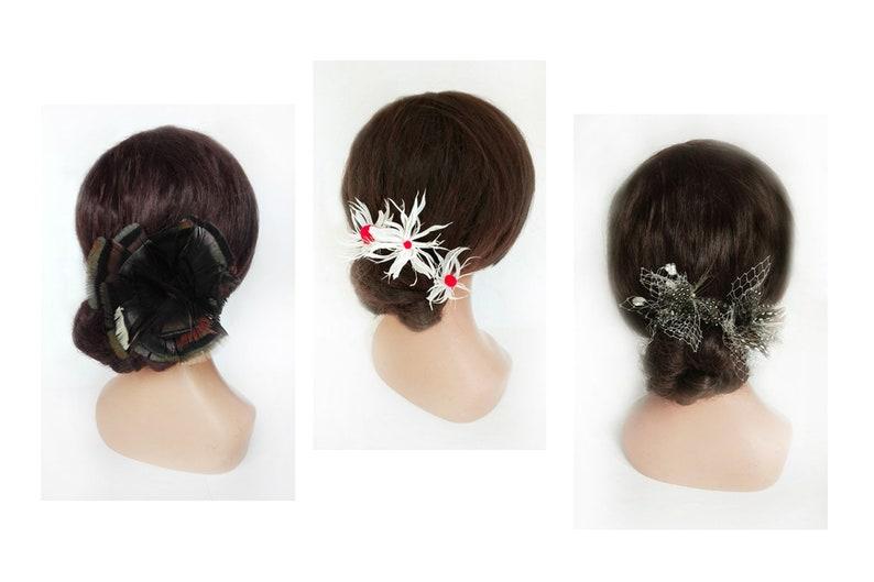 Pique feather bun bride wedding fascinator gift woman image 0