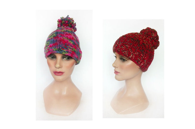 Multicolored women's cap pompom winter woman hat hand image 0