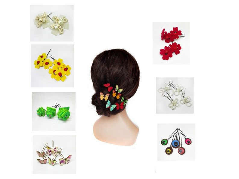 Hair pin wedding with butterfly flower bridal comb pique image 0
