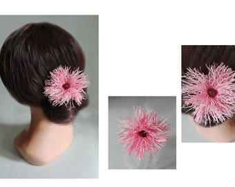 Hair clip pink hair flower, wedding hair stick, hat ceremony, hair pin bride in pink