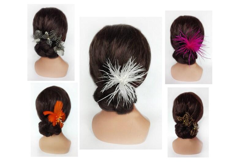 Flower wedding hair stick ostrich feather Fascinator image 0