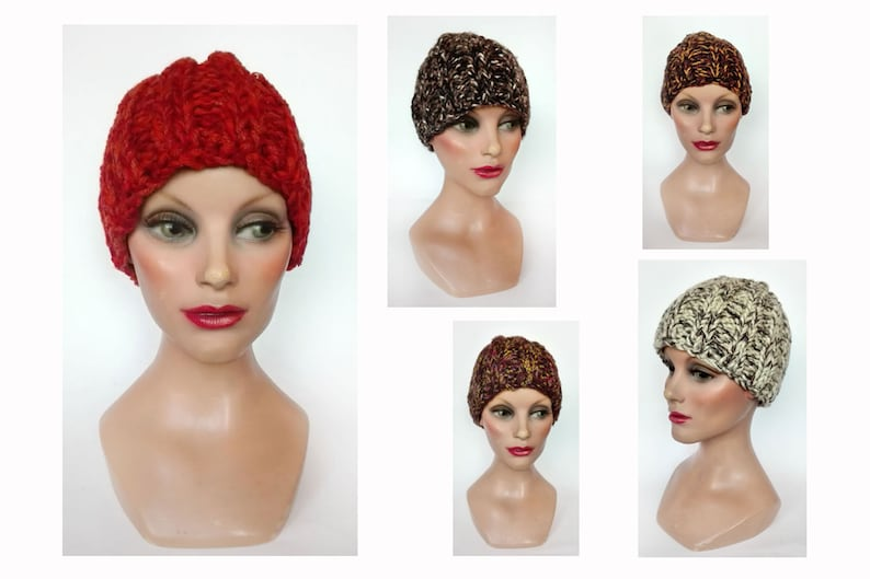 Women's red hat brown wool winter hat Christmas woman image 0