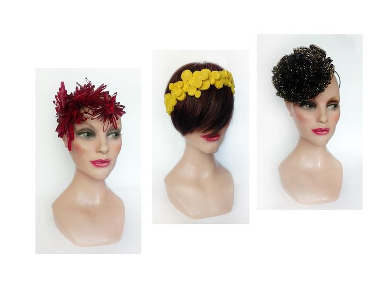Yellow bridal headband headband unique piece elegant wedding image 0
