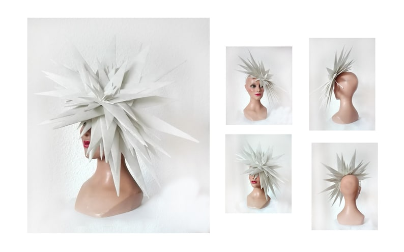 Ghent fascinator royal derby Ascot Kentucky futuristic white image 0