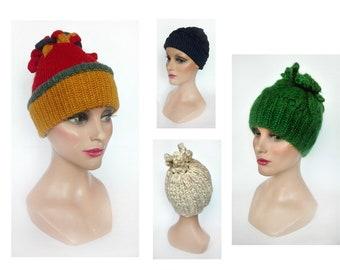 Bonnet woman white pompom, hat winter wool green fancy, beanie ski mountain, gift woman