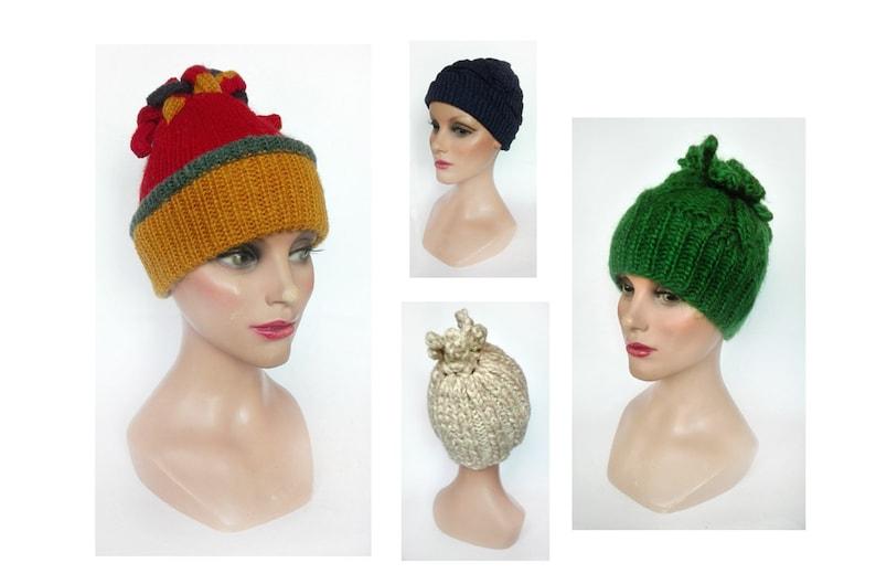 White women Beanie Pompom Hat winter wool green fancy beanie image 0