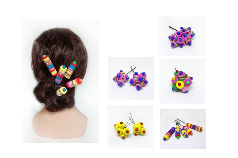 Candy hair accessories wedding bun pin multicolored hair image 0