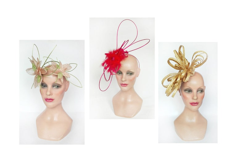 Fascinator royal derby Ascot feather red woman wedding hat image 0