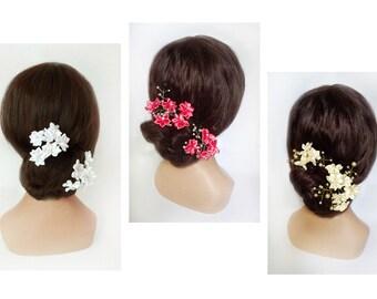 Hair pin, satin flower bride, white ceremony comb, pink wedding kanzashi, cocktail bun, engagement bar