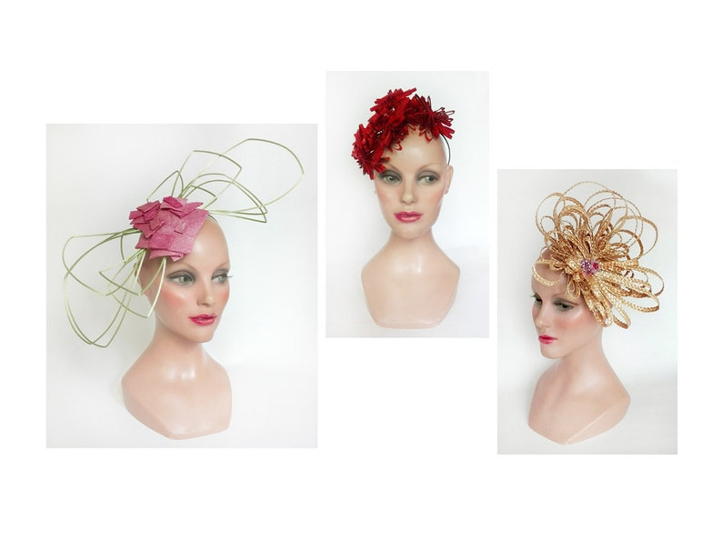 Unique piece Derby hat great fascinator straw wedding hat image 0