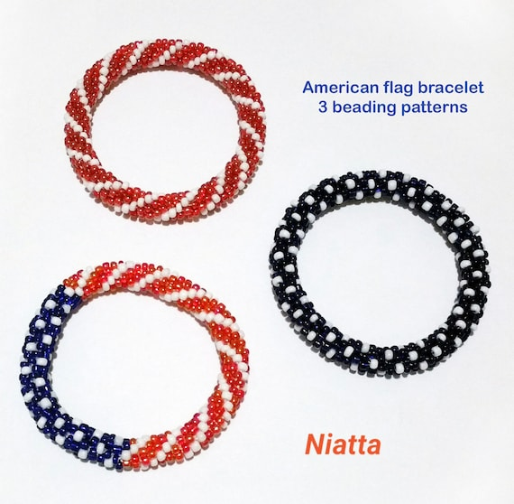 Red White and Blue Beaded Bracelet American Flag Beading