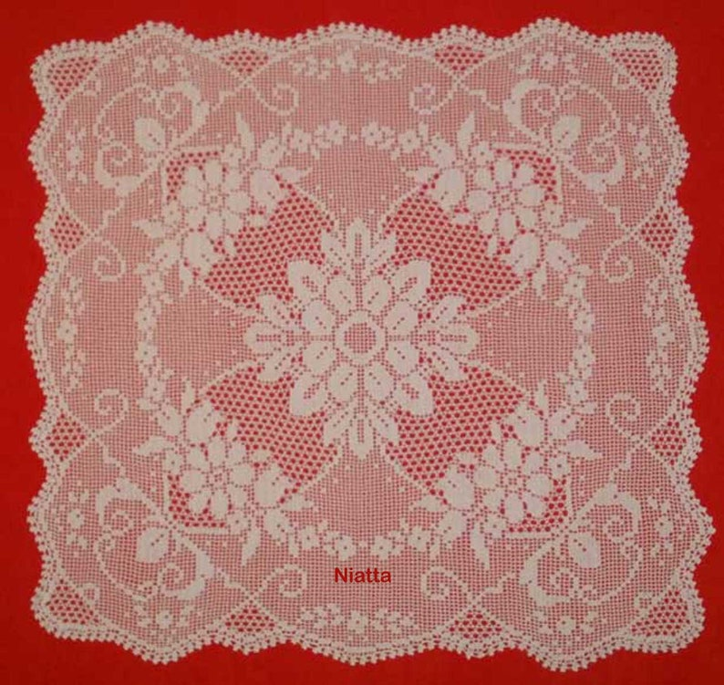 Square Tablecloth Vintage Pattern Crocheted Doily Etsy