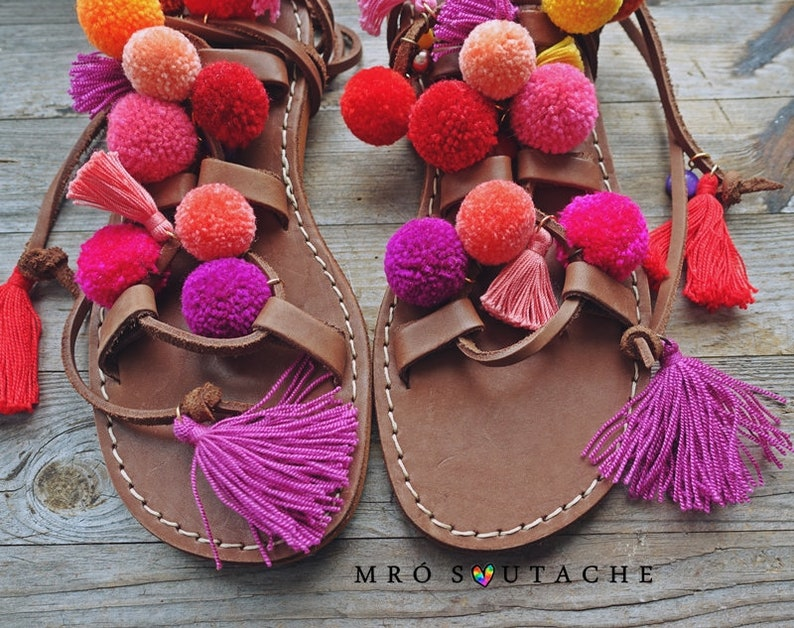 4252832915d7c Model CANDY --Sandals boho style,pom poms sandals, leather sandals,  gladiator sandals, boho sandals