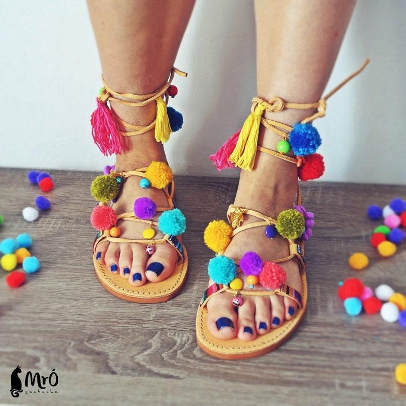 7840f97ec06 Model IBIZA---ON ORDER --Sandals boho style,pom poms sandals, leather  sandals, gladiator sandals, boho sandals
