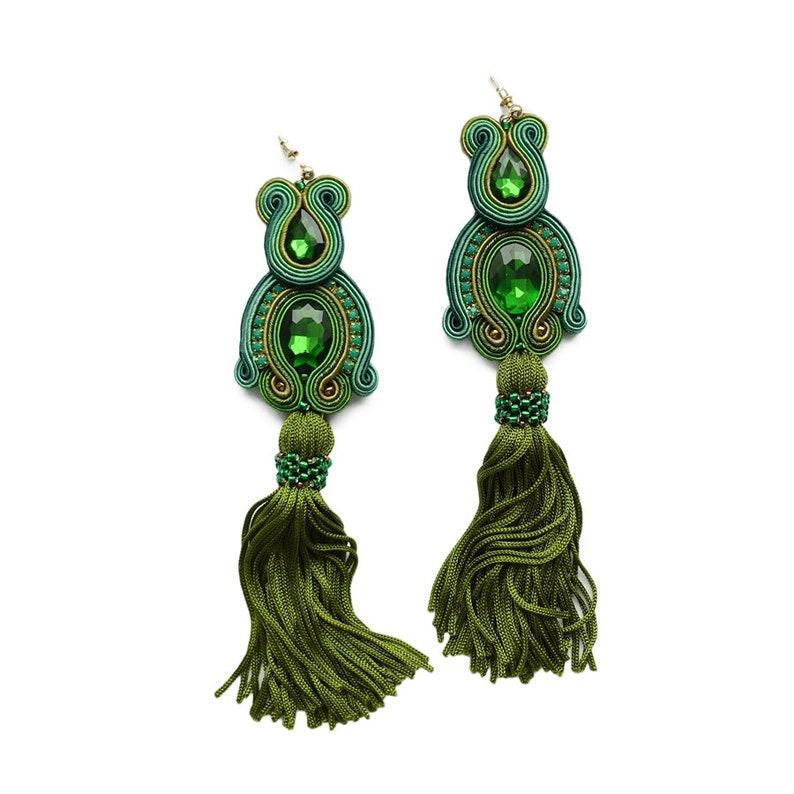 Green soutache earrings long earrings big earrins boucles d/'oreilles soutache,orecchini soutache