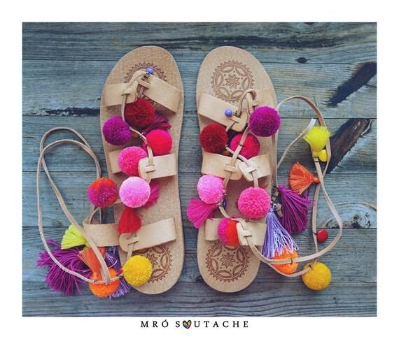 cuir sandales style 40 de sandales en gladiateur sandales pom Taille poms sandales boho Pqvttn