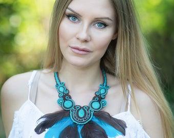 Turquoise and bronze beautifull boho Soutache Necklace !!! collana soutache,collier soutache