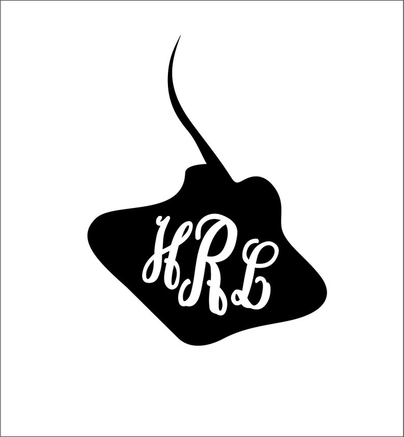 sting ray silhouette monogram frame SVG instant digital download cutting file for tshirt making decals epoxy cups glitter cups