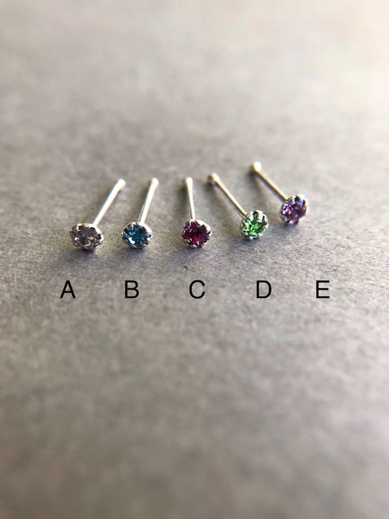 Set of Two  6 Prong Set Sterling Silver Tiny 2mm Nose Stud NO1006