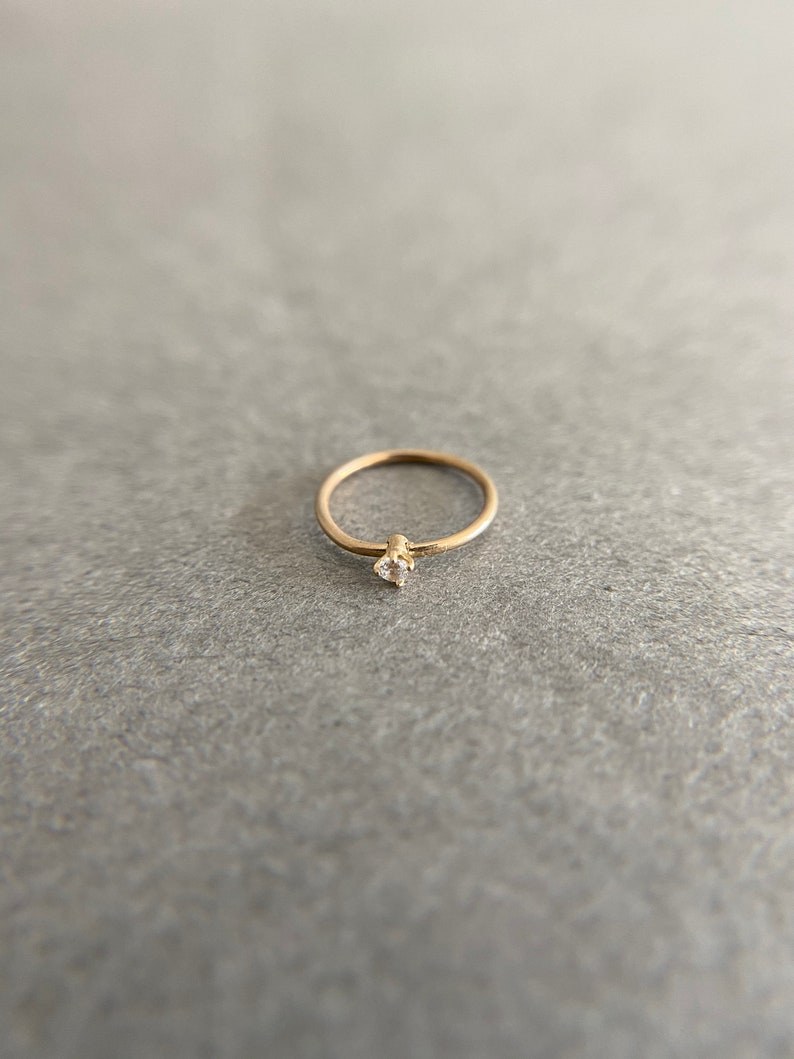 14K Solid Gold 14K Solid Gold Tiny Mini CZ Prong Setting Hoop Earring Cartilage Earring
