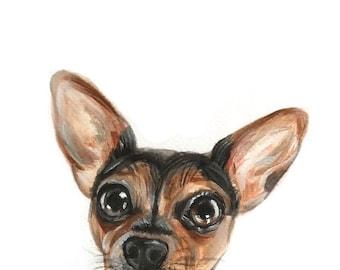PEEK A BOO Custom pet portrait, dog, dog portrait, cat portrait, custom pet painting, animal painting, dog cat watercolor,