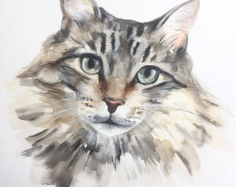 CUSTOM CAT PAINTING, cat watercolor, Custom pet portrait, cat portraits, pet painting, gift for her, cat art, pet portrait, Petshopofcolor