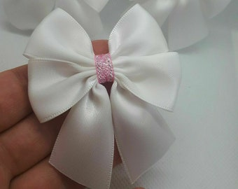 6 Large 6cm Satin Bows Self Adhesive Wedding Craft Sew Pink Silver Gift Box UK