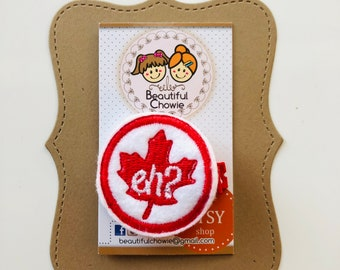 Canada Eh? feltie clippie - Red White Maple Leaf hair clip felt barrette hair bow accessory (P323)