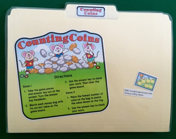 COUNTING COINS - Money - File Folder Game - Ready to play, No digital  downloading!