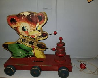 Fisher Price Unmarked Bear Pull Toy - Collectible and Vintage - Metal Wheels