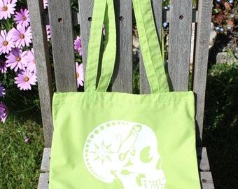 Cotton Tote Bag, Shopping Bag, Market Bag, Reusable Bag, Eco Bag, Beach Bag, Screen Printed, Skull, Lime Green, White, Greenery, Up-cycled