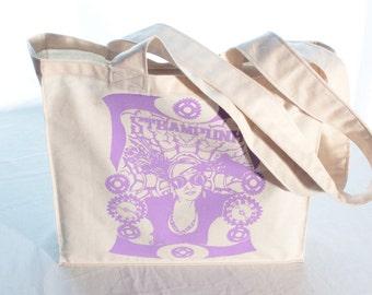 Canvas Tote Bag, Shopping Bag, Market Bag, Reusable Bag, Eco Bag, Beach Bag, Screen Printed, Steampunk, Cogs Design, Purple Printed Image